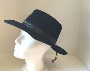 07ee9b29e51 black wool cowboy hat with turquoise cabochons wool felt 70s 80s vintage western  hat medium southwestern boho wpl4384 USA American made