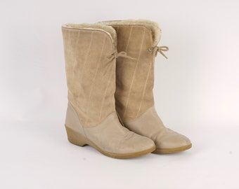 2f1d10461641 sheepskin lined tan leather winter boots US 9 EU 40 Italian sherpa mukluks crepe  sole wedge