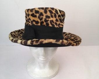 Leopard Print Wide Brim Ladies Hat 50s to 60s Vintage Faux Fur Floppy Fedora  Hat Small e7d65cacff36
