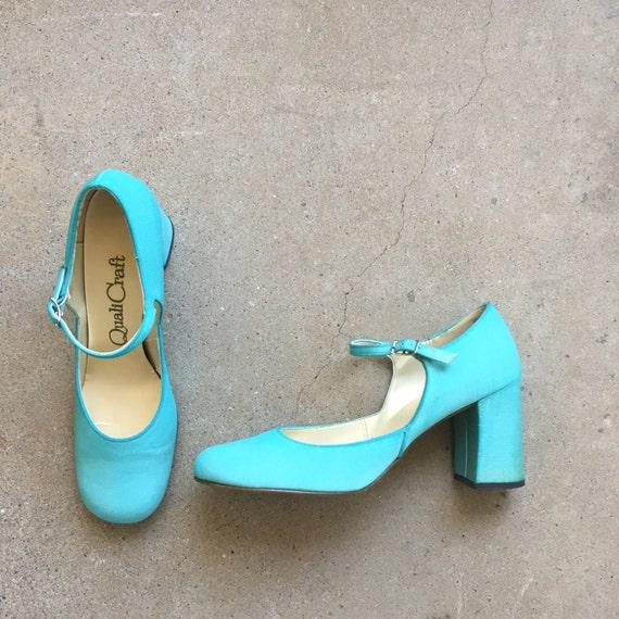 60s vintage turquoise wedding shoes Size 8 AA narrow taffeta  088a43c19955
