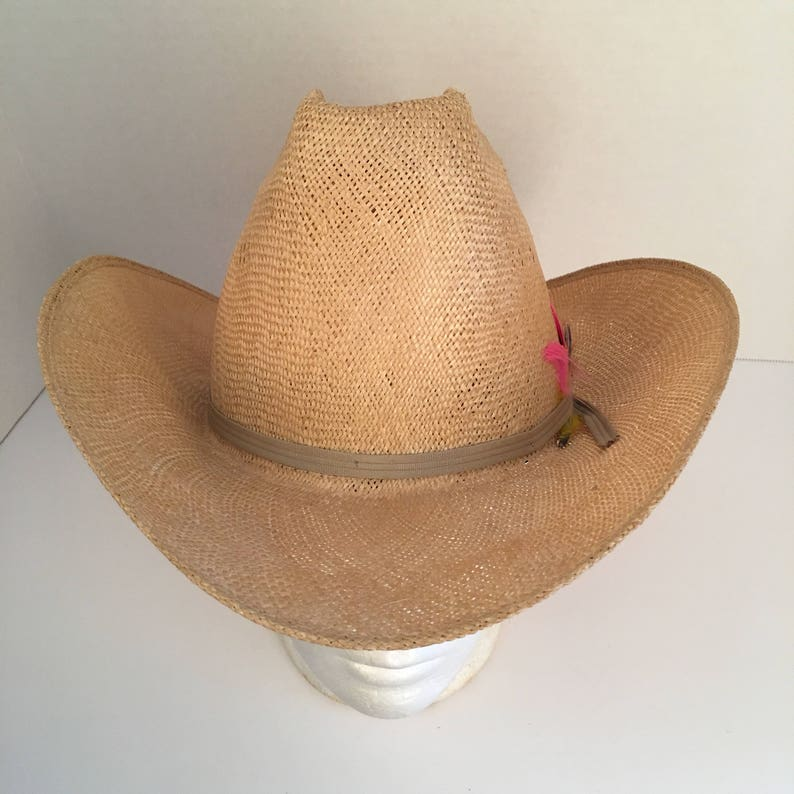 58f73b7f2c4a7 Natural straw high cowboy hat with pink feathers 7 Bailey
