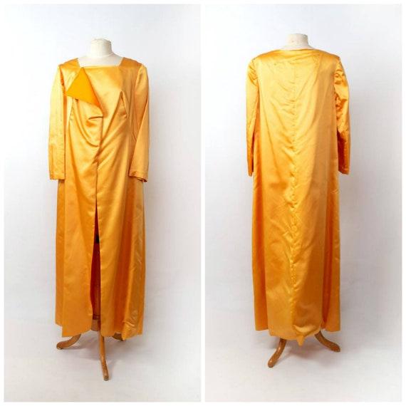 lustrous goldenrod satin evening coat XL long dust