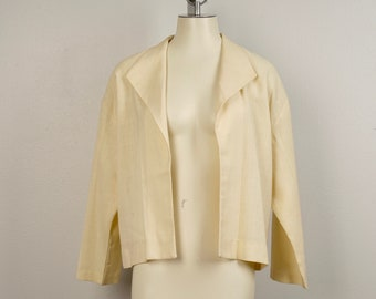 Loose Fitting Open Linen cropped boxy Jacket with wide Collar Pale Yellow Ivory XL