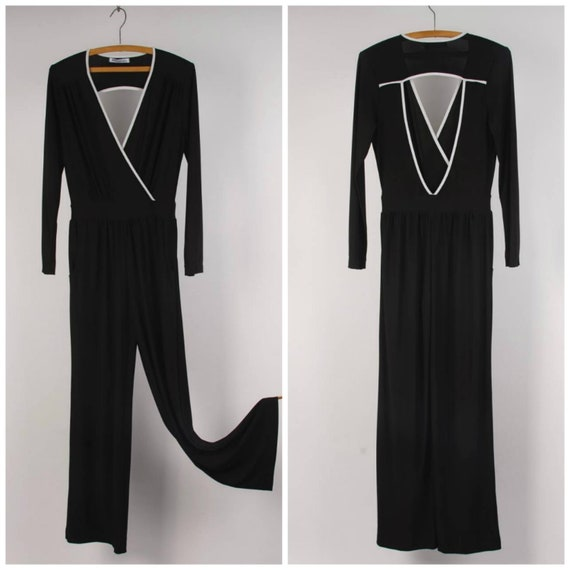 stretchy black jersey jumpsuit cut out back and de