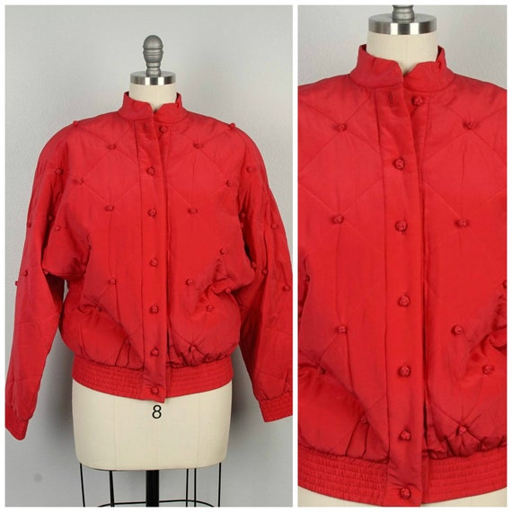 red silk diamond jacket 90s oversize bomber with … - image 1