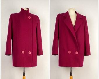 Fuchsia Pink Winter Car Coat   80s 90s Vintage Long Wool Blend Magenta Boxy Jacket    Women Medium 9 10