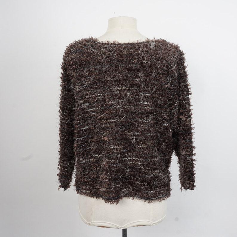 fuzzy brown cropped boxy sweater 90s vintage Karen Kane fluffy textured pullover medium large