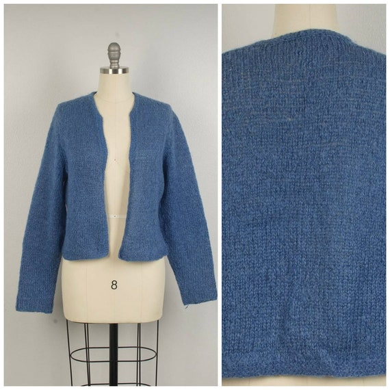 mohair open fit cardigan 80s hand knit sweater