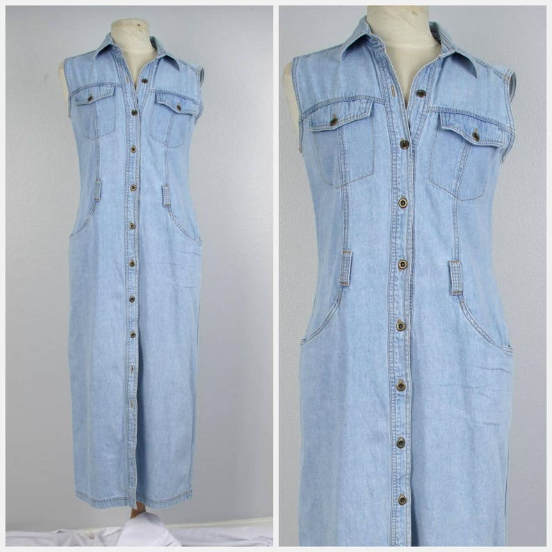 af2f6c9fa7bdbc Long denim dress with pockets 90s grunge vintage sleeveless