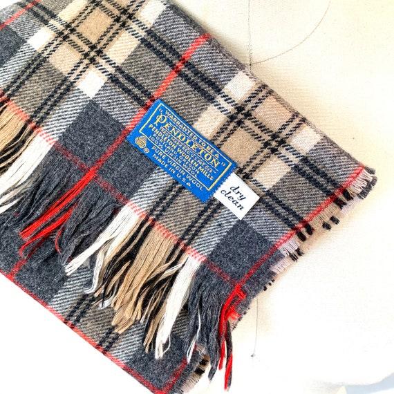 Pendleton wool plaid neck scarf tartan fringed mu… - image 2