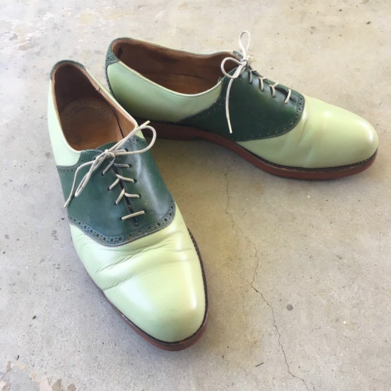 pale green vintage Cole Haan oxford shoes 12 D lea