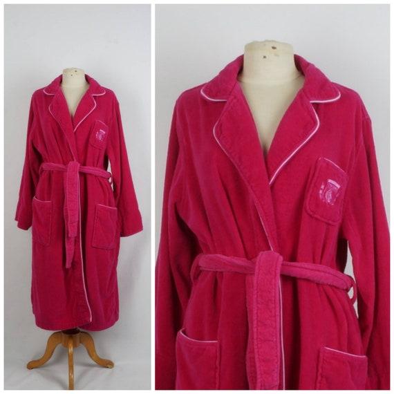 Pierre Cardin fuchsia pink Terry cloth bathrobe w