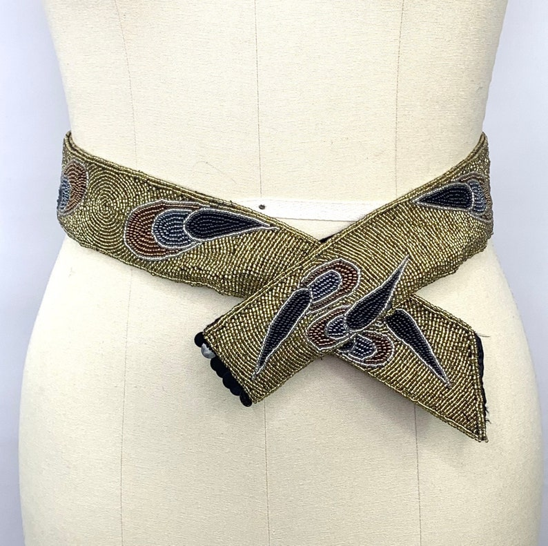 heavily beaded dressy gold satin belt 26 to 28 inch waist 80s to 90s vintage
