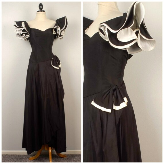 Black And White 80s Vintage Big Puffy Sleeve Prom Dress Long Etsy