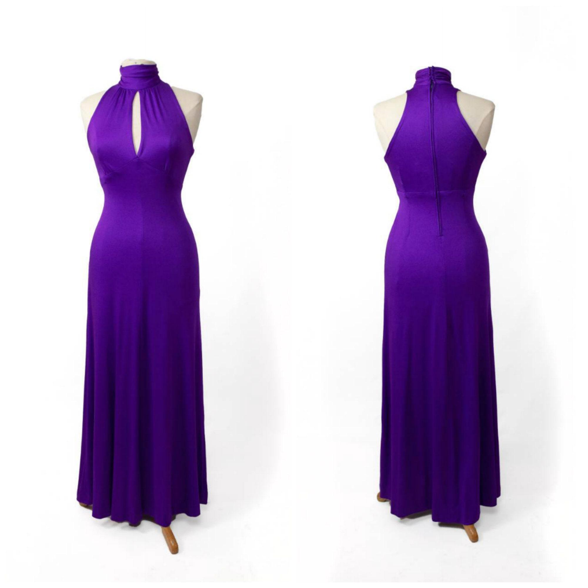 Vintage Scarf Styles -1920s to 1960s Dark Purple Sleeveless Racer Back Dress 70S Vintage Maxi $76.00 AT vintagedancer.com