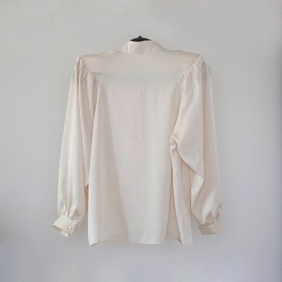 ivory white silk mandarin collar pleated blouse H… - image 2