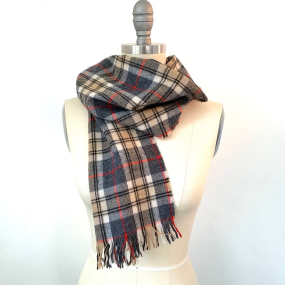 Pendleton wool plaid neck scarf tartan fringed mu… - image 1