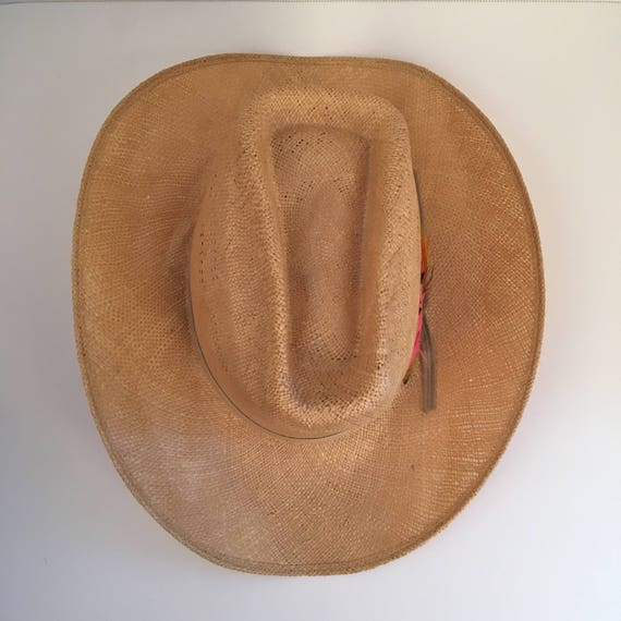 2201ab0c6e4ba natural straw high cowboy hat with pink feathers 7 Bailey