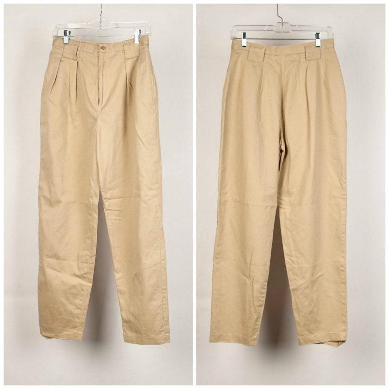 pleated khaki pants 28 inch high waist Gator of California 90s vintage pleated slacks