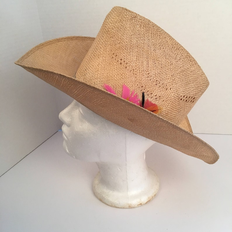 108292a4 Natural straw high cowboy hat with pink feathers 7 Bailey | Etsy