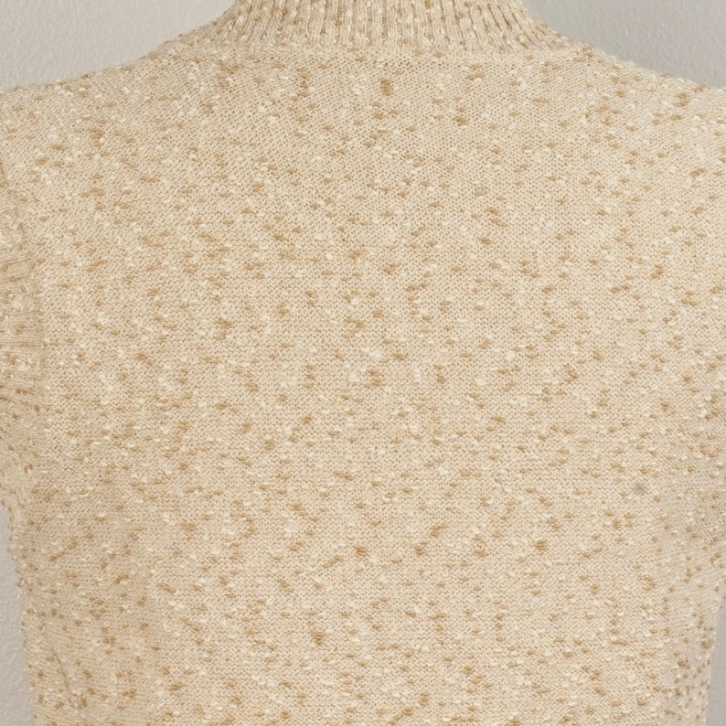 Speckled Tan and Ivory 70s vintage Knit Sweater Vest V Neck Small Medium Pullover