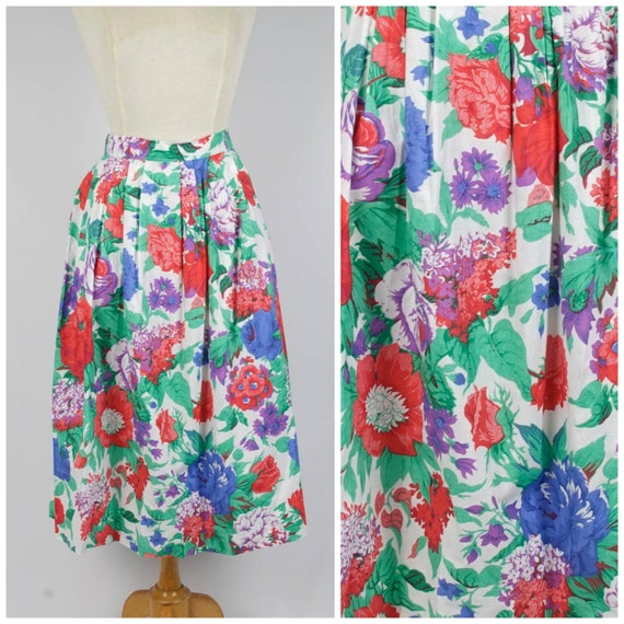 bright floral print skirt large to XL 80s vintage