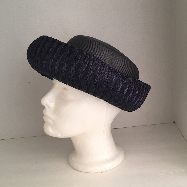 11f46d5850687 Ladies Dark Navy Blue Straw Breton Hat w Velvet bow Jan Leslie