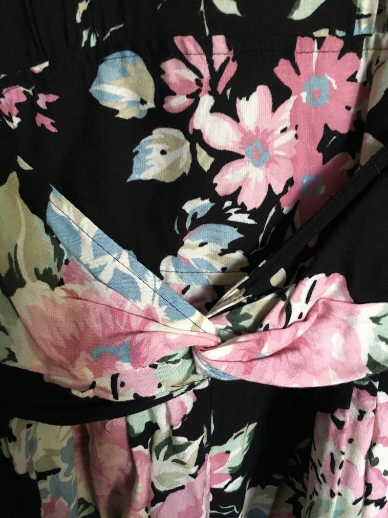 Black Pink Floral Grunge Jumpsuit 80s 90s Flower Print High Waist Drop Crotch dressy Romper Onesie Long Sleeve 11
