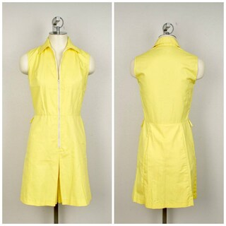bright yellow knee length skort dress White Stag USA medium sleeveless 70s vintage tennis dress with shorts romper onesie