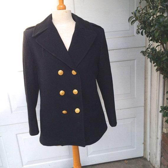 Vintage Military Pea Coat Wool Women S Navy Black Officer Etsy
