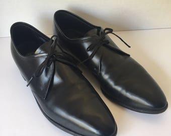 Florsheim Men's Black Leather Formal Dress Shoes 50s Vintage Lace Up Shoes Size 9 C
