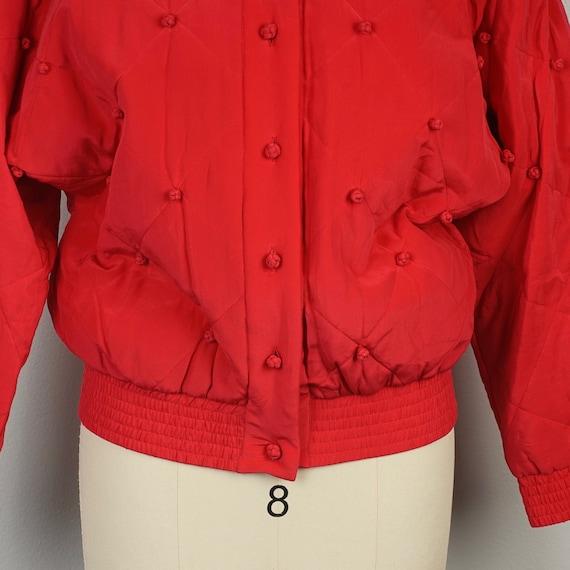 red silk diamond jacket 90s oversize bomber with … - image 4