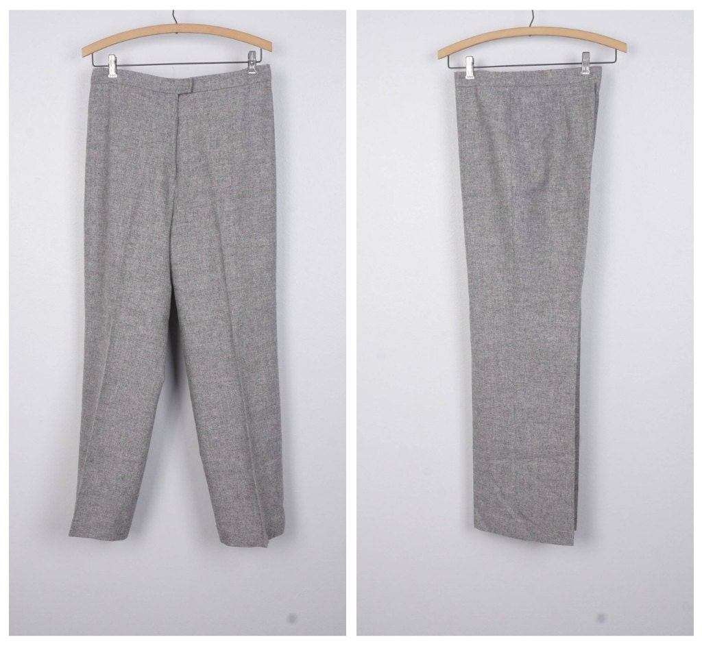 gray flannel wool knit ladies slacks straight leg Country ...