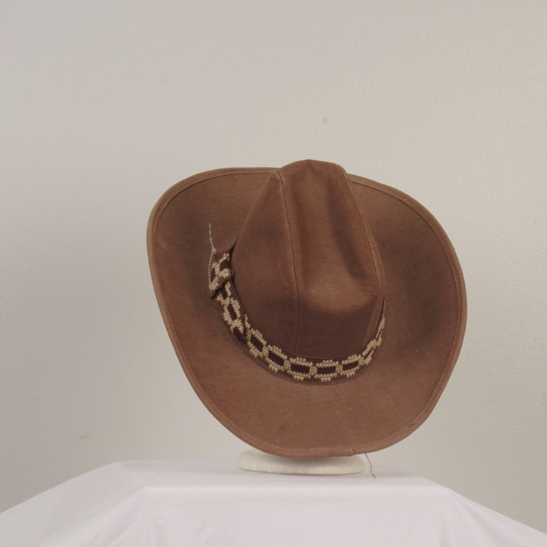 70s vintage brown cowboy hat western cattleman wide brim tall  fd6ce1c18b8e