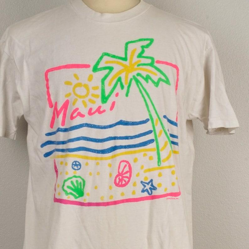 f8468169d0a Maui Hawaii t-shirt 80s vintage bright neon Souvenir Graphic