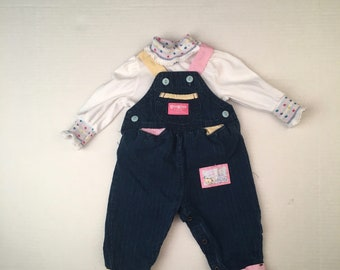 Osh Kosh Blue Denim Overalls and Top 3-6 months Baby Girl White Long Sleeve Shirt 90s pink yellow teal purple coveralls