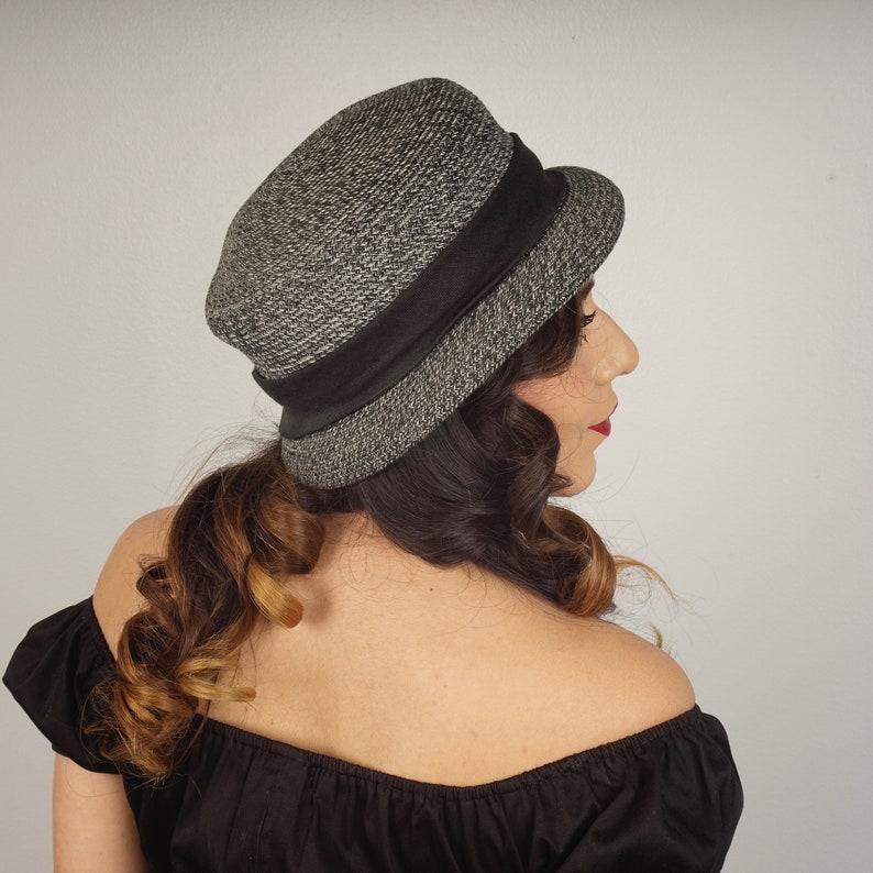 56593c4c Gray Tweed Straw Hat Dressy Summer Wedding Garden Party Narrow   Etsy