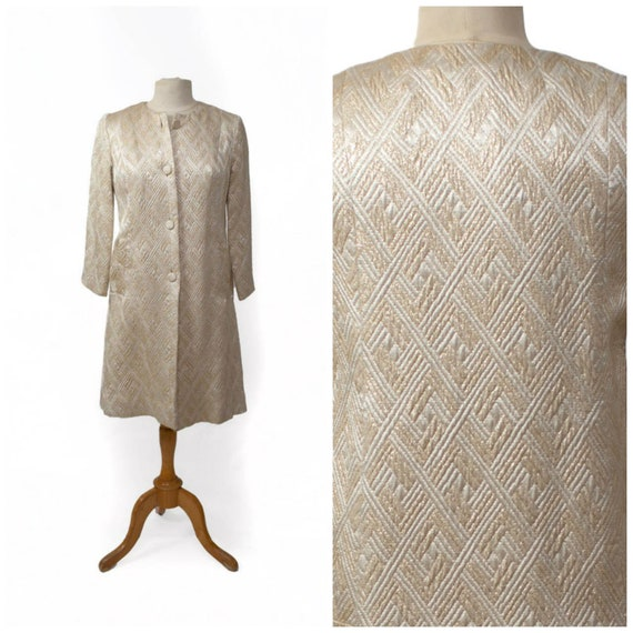 quilted ivory and gold brocade evening jacket coat