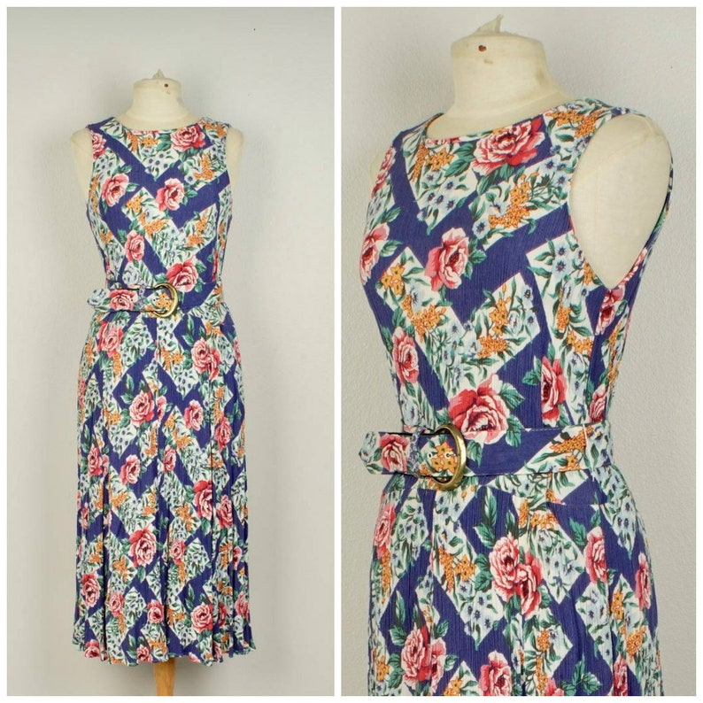 f5f8024c825 Blue trellis red rose floral gauze dress feminine 80s to 90s