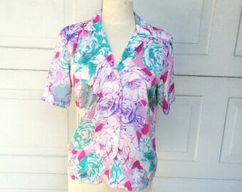 Satin Floral Short Sleeve Secretary Blouse 70s Vintage Pink Purple Teal Colorful Flowers Top Medium Large Women