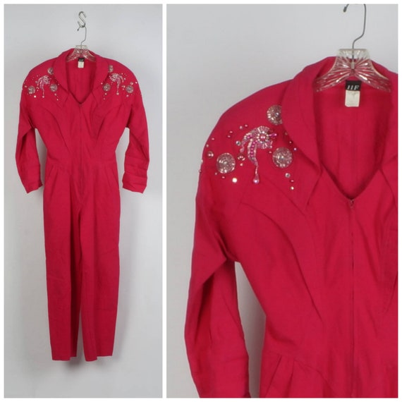 fuchsia pink power jumpsuit with shoulder pads 80s