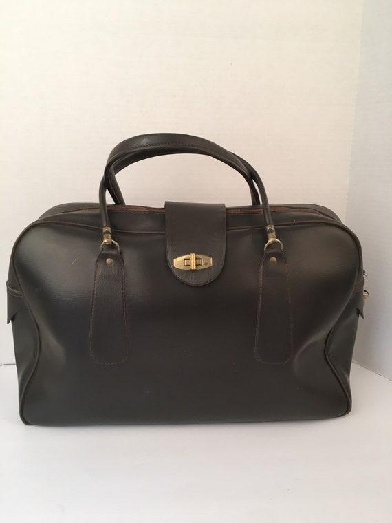 50s 60s Vintage Dark Brown Attaché Case Zippered L