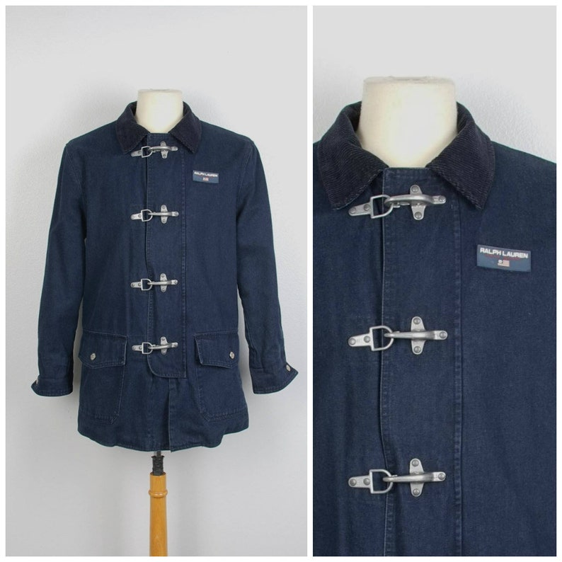 Jacket Ralph Chore Lauren Toggle Nautical Boating Head Lined Denim 90s Polo Sport Fleece Oversize Coat Sc4AL35jqR