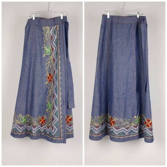 heavily embroidered denim maxi wrap skirt 60s to 7