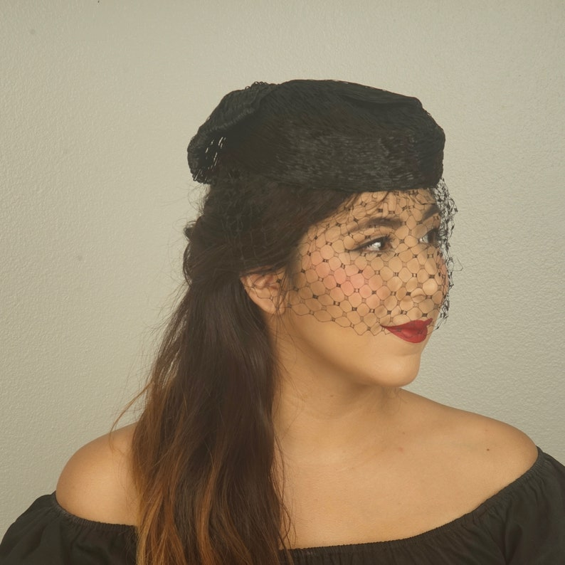 543f6c58f7728 Ladies Black Straw Pillbox Hat with veil and big bow 40s 50s