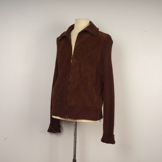 deadstock vintage brown suede sweater jacket with