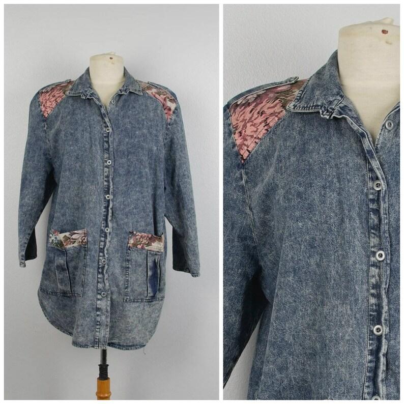2714daa7b40 Acid Wash Denim Floral Print Long Jacket with Pockets XXL 1X