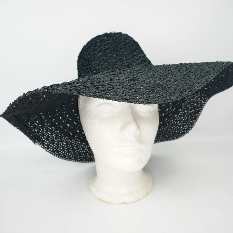 floppy wide brim straw hat Ladies Vintage black sun hat