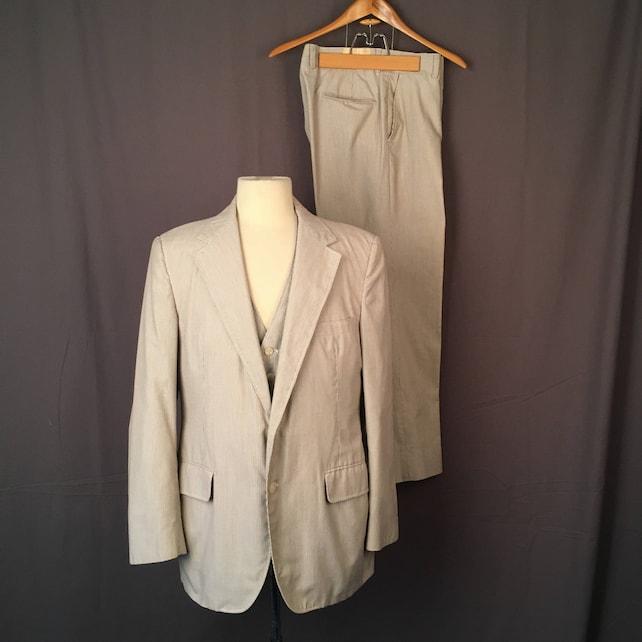 Men's Pinstripe Summer Wedding Three Piece Suit Tan Cream vest single breast jacket flat front slacks 36 waist pants 42 Haspel