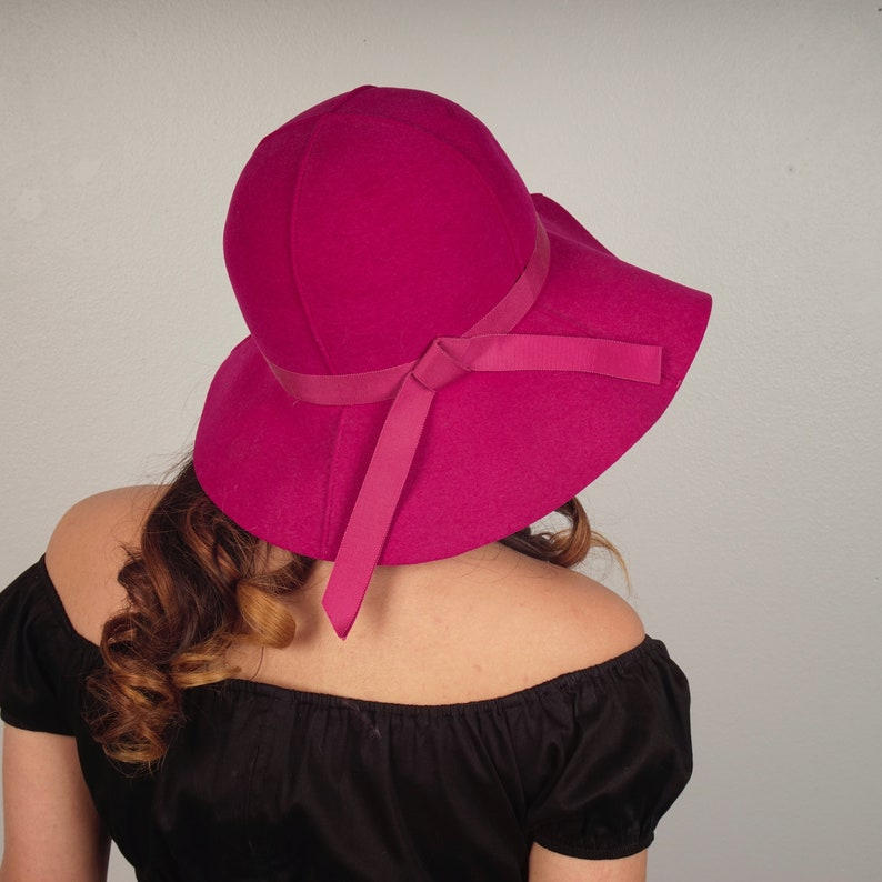 a671bae286c 60s Mod Fuchsia Pink Tall Hat with Wide Floppy Brim Ritz Henry